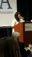 ISEA President, Tammy Wawro speaking to the crowd